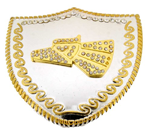 Hecho en Mexico Belt Buckle (made in Mexico) Slogan Costume Fashion Metal (Eagle Rhinestone in Shield Plate)