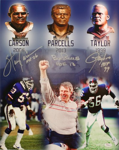 (The New York Giants 1986 Hall Of Fame Trio; Harry Carson, Bill Parcells, and Lawrence Taylor Autographed 11x14 Collectors Photograph)