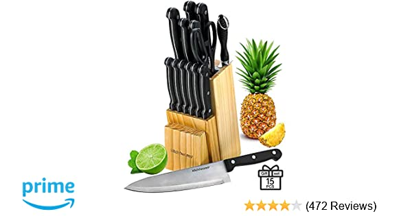 Knife Set With Wooden Block - 15 Piece Set Includes Chef Knife, Bread Knife, Carving Knife, Utility Knife, Paring Knife, Steak Knife, Boning Knife, ...