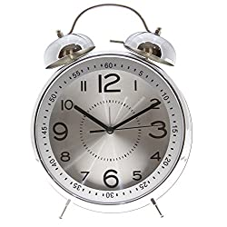 Bedside Twin Bell Alarm Clock with Backlight - 8 Silver