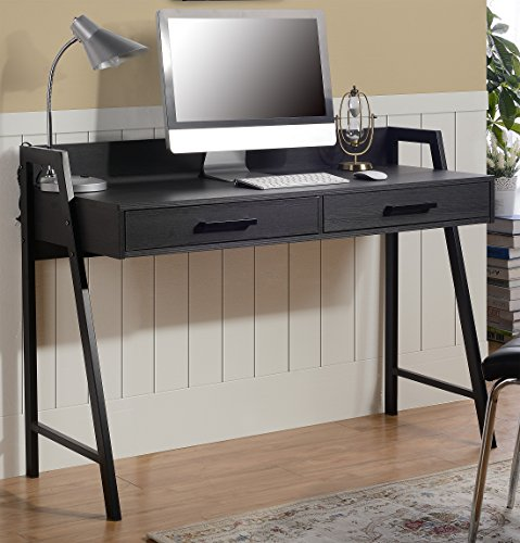 Home Star Writing Desk - HOMESTAR Rosalind Writing Desk with 2 Drawers in Dark Oak Finish