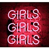 Neon Signs Girls Handmade Glass Business Neon Light for Gift Bedroom Pub Hotel Wedding Party Decor Wall Sign Light 12'' x 10'' Pink