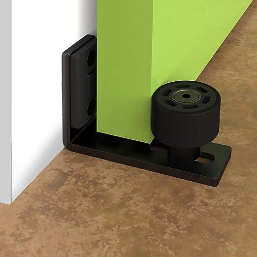 Guía de suelo ajustable para puerta y pared inferior de puerta corredera hardware negro: Amazon.es: Bricolaje y herramientas