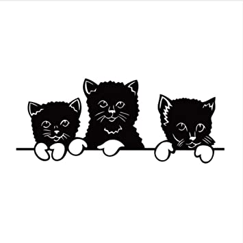 QTZJYLW Tres Lindos Gatos Negros Animales Patrón Pegatinas De Pared para Habitaciones De Niños Decoración del Hogar del Bebé Calcomanías De Pared (70 × 28 ...
