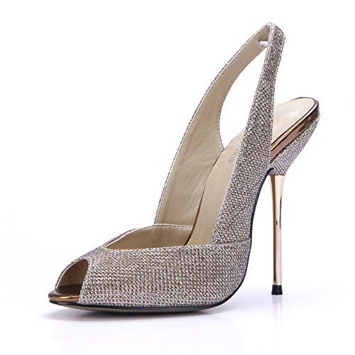 con luce pistola nuova ferro traliccio state donne stiro porta nozze ZHZNVX scarpe che Gold vuoto cena Sandali pesce 39 alti bocca con sexy tacchi di molla da sono FaxZvwqt
