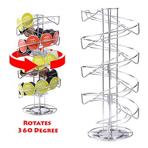 Kaysev Revolving Coffee Pod Holder Rack for Dolce Gusto Capsules - Spiral 360 Degree Rotating Spinning Carousel Tower Stand Nescafe Chrome Finish Kitchen New (30 Capsules) (Dolce Gusto Capsules Storage)