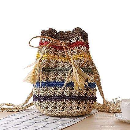 BAGEHUA tejidas a mano Mochila Raya de color paja bolsa de playa Bolsa tejida beige