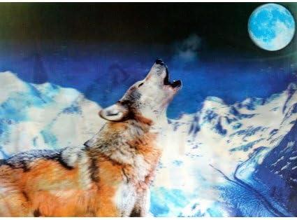 Lrg alta definición 3D Pic - Lobo aullando a la luna. Imprimir en ...