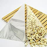 100 x Clear Cone Candy Sweet Display Bag Party Cello Cellophane Packaging Bags Gift for Candies Cookies Wedding Decors N@N