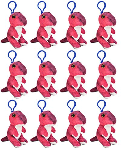 (Wildlife Tree 12 Pack T-Rex Stuffed Animal, Backpack Clip Toy Keychain, 4 Inch Tyrannosaurus Plush Kids Party Favors)