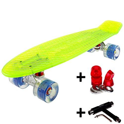 FunTomia® Mini-Board 57cm Skateboard mit oder ohne LED Leuchtrollen inkl. Aluminium Truck und ABEC-11 Kugellager in verschiedenen Farben zur Auswahl T-Tool (Deck in grün transparent / Rollen in blau mit LED + T-Tool + Lenkgummis)