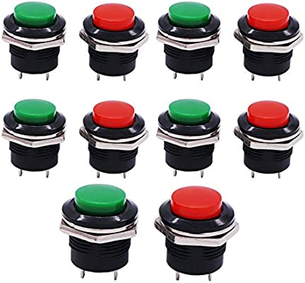 10PCS Momentary Push Button Switch PBS-110 Mini Push Round Button Switch Normally Open Black