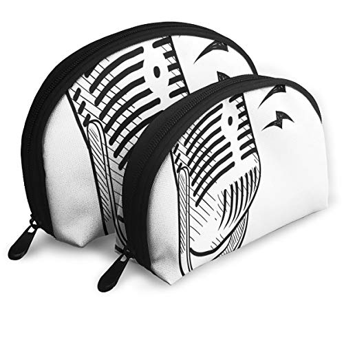 Shell Shape Makeup Bag Set Portable Purse Travel Cosmetic Pouch,Retro Microphone Communication And Media Concept Radio Show Speech Talk Podcast,Women Toiletry Clutch