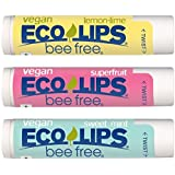 Vegan Lip Balm by Eco Lips Superfruit/Sweet Mint/Lemon Lime 3 Pack Bee Free with Candelilla Wax, Organic Cocoa Butter…