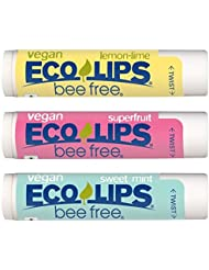 VEGAN LIP BALM By Eco Lips Superfruit / Sweet Mint / Lemon Lime 3 Pack Bee Free with Candelilla Wax, Organic Cocoa Butter, & Organic Coconut Oil. Soothe & Moisturize Dry, Cracked and Chapped Lips