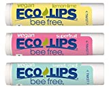 VEGAN LIP BALM By Eco Lips Superfruit/Sweet Mint/Lemon Lime 3 Pack Bee Free with Candelilla Wax, Organic Cocoa Butter, Organic Coconut Oil. Soothe & Moisturize Dry, Cracked and Chapped Lips