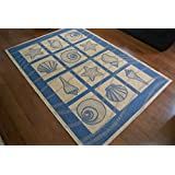 Coastal Seashell Indoor/Outdoor Blue Ivory Area Rug 5'3 W X 7'6 L