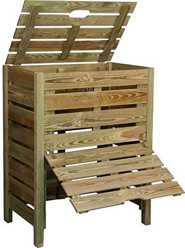 Compostador de madera con trampilla 400L: Amazon.es: Jardín