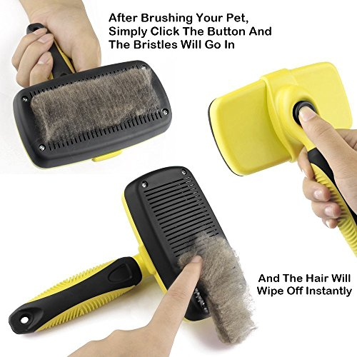 Novelty Wares Pet Grooming Brush, Self-Cleaning Slicker Brushes, Best Shedding Tools For Grooming Cats And Dogs With Long Thick Hair