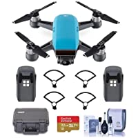 DJI Spark Mini Drone - Sky Blue - Bundle With Go Professional Cases Fly More Case, Intelligent Flight Battery, Propeller Guard, 32GB MicroSDHC U3 Card, Cleaning KIt