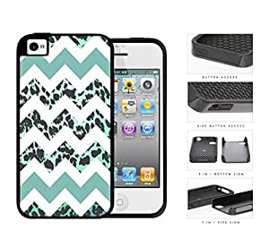 Teal White Chevron With Leopard Design Pattern 2-Piece Dual Layer High Impact Rubber Silicone Cell Phone Case Apple iPhone 4 4s