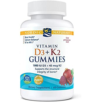 Nordic Naturals Vitamin D3 Plus K2 Gummies - Vitamin D3 from Natural Cholecalciferol for Optimal Calcium Absorption with Vitamin K2, Supports Formation of ...