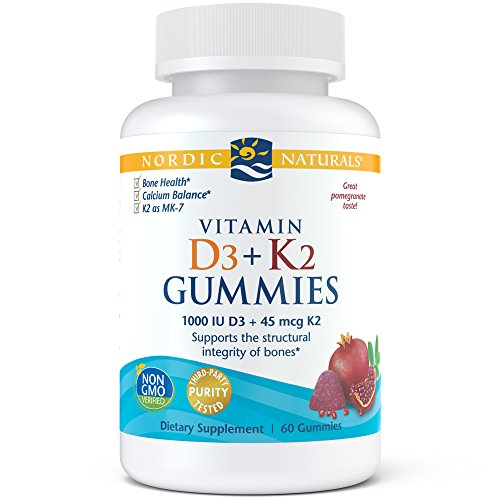 (Nordic Naturals Vitamin D3 Plus K2 Gummies - Vitamin D3 from Natural Cholecalciferol for Optimal Calcium Absorption With Vitamin K2, Supports Formation of Healthy Bones, Pomegranate Flavor, 60 Count)