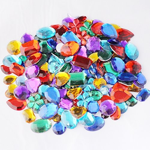 Quality and Value Acrylic Gemstones 100g Assorted Shapes And Sizes, Supplied By Kids B (Value Gemstones)
