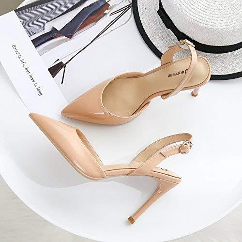 Pumps Baotou Sandalen weiblich fein mit mit mit hochhackigen Sandalen Spitzen High Heels weiblich (Farbe   39, Größe   Nude Farbe 9CM) 1da672