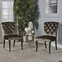 Hallie Dining Chairs | Traditional Scroll Styling | Tufted New Velvet in Grey (Set of 2)