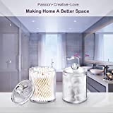 SheeChung Qtip Dispenser Apothecary Jars Bathroom - Qtip Holder Storage Canister Clear Plastic Acrylic Jar for Cotton Ball,Cotton Swab,Q-Tips,Cotton Rounds