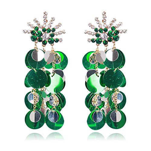 Country Western Dance Competition Costumes (Women Tassel Sequins Dance Earrings Ear Stud Fashion Jewelry Long, Green)
