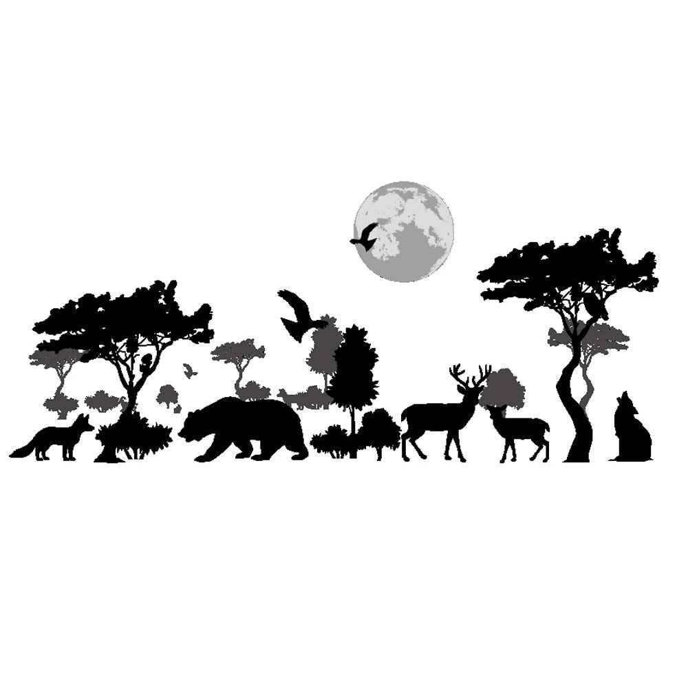 ufengke Black Jungle Forest Wall Stickers Removable Vinyl Animals Wall Decals Art Decor for Boys Bedrooms Living Room