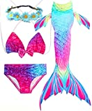AMENON Girls Swimsuits Bikini Mermaid Tails for Simming for Summer Pool with Monofin