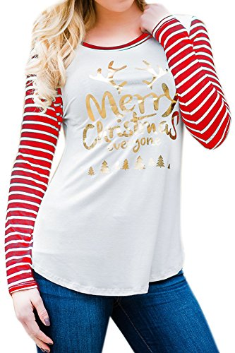 Christmas Womens Graphic Striped Cotton Shirt Color Blocked Holiday Long Sleeve Blouse Top Red M ()