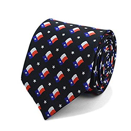 (Men's Waving Texas State Flag Necktie Tie Neckwear (Black))