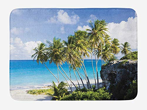 Travel Bath Mat, Caribbean Island Overlook with Palm Tree and Ocean Exotic Travel Destination Print, Plush Bathroom Decor Mat with Non Slip Backing, 23.6 W X 15.7 W Inches, Cream Blue