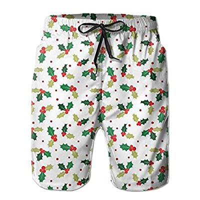 Top OPDDBB Cool Christmas Holly Berry Board Shorts Stretchy Linen Swimwear Shorts Water Shorts With Pockets For Man for cheap