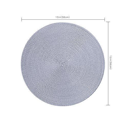Round Placemats Furnily Round Braided & Woven, Indoor/Outdoor Placemat,15 Inches Round Table Mats,Set of 6 (Grey) by Furnily (Image #3)'
