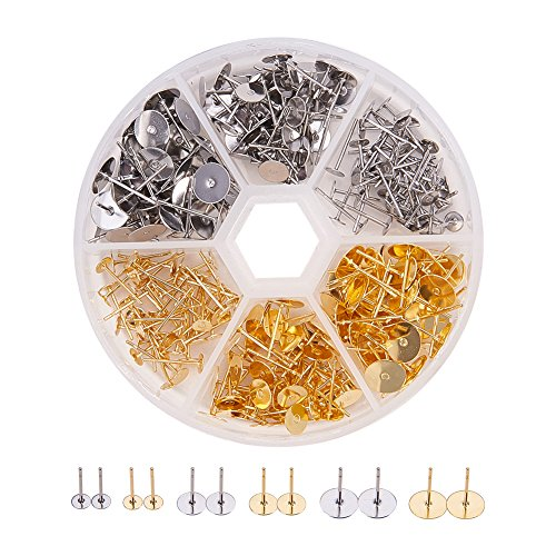 Pandahall Elite 1 Box 300 PCS 3-Size 2-Color Blank Earring Pins 304 Stainless Steel Flat Round Blank Peg & Post Ear Studs Findings (Peg Pads)