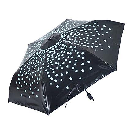 Paraguas plegable automatico Mujer niño Hombre an- Plástico Plegable Negro de la protección de Tres
