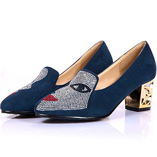 Melady Mini Tacco Size Donna Size on da Pumps Big Slip Medio Blue qrpqB