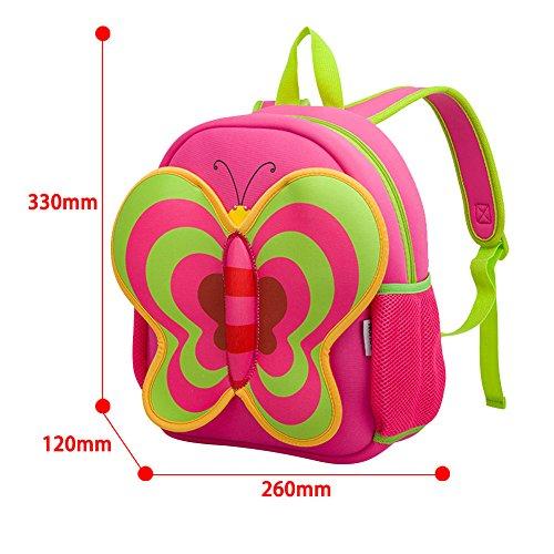 BINGONE NOHOO Kids Shoulder Bag 3D Cartoon Zoo Animal Backpack Pink Girl 2-8 years old Butterfly