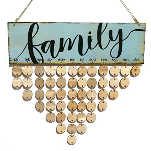 rosenice Family Birthday Reminder Hanging DIY Wooden Calendar Plaque Home Wall Decoration (Blue)