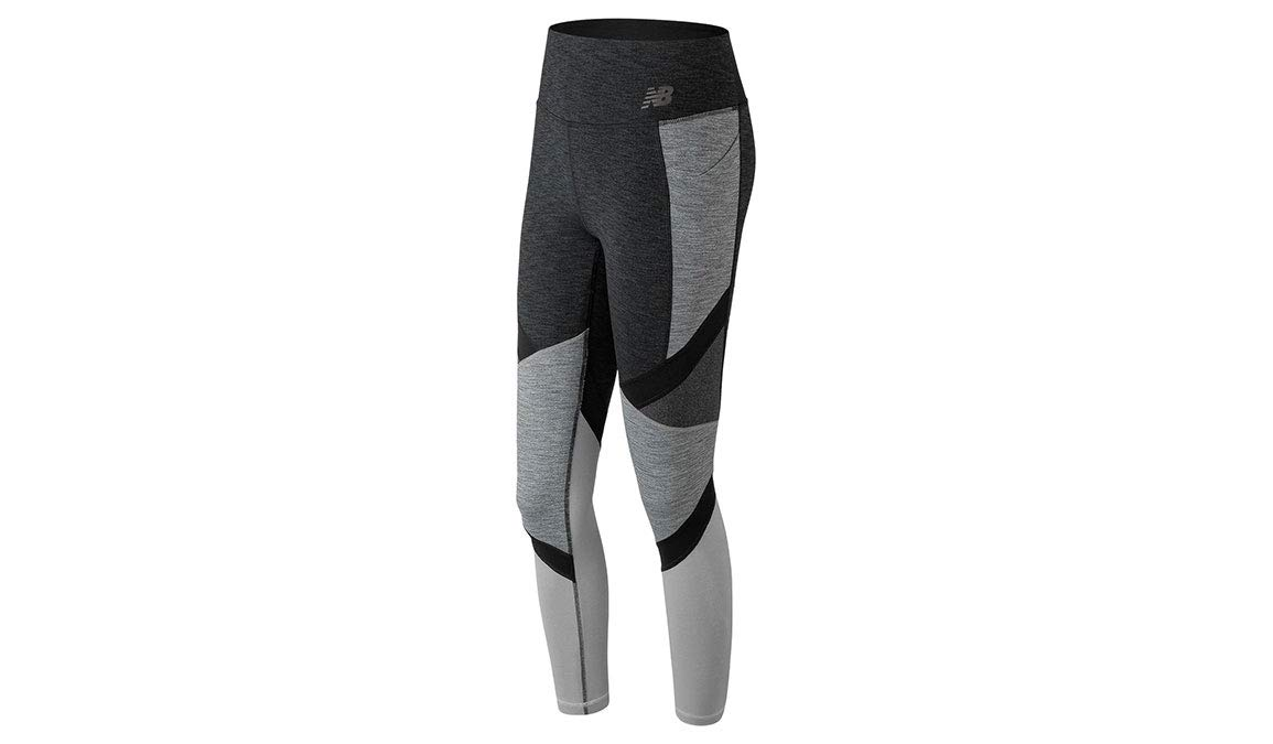 New Balance Womens Highrise Transform Pocket Tight, Heather Charcoal, Small