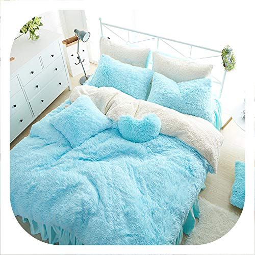 (Princess Style Solid Color Snow White Blue Pink Lambs Wool Bed Skirt Duvet Cover Bedspread Bedclothes Bed Linen Bedding Set,4,1.5m Queen 7pcs)