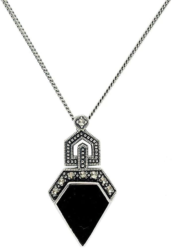 Gemondo Art Deco Style Necklace Sterling Silver 1 50ct Onyx 0 13ct Marcasite 45cm Necklace Amazon Co Uk Jewellery