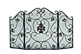 Benzara Metal Fire Screen with Traditional Floral and Wire Mesh Design For Sale