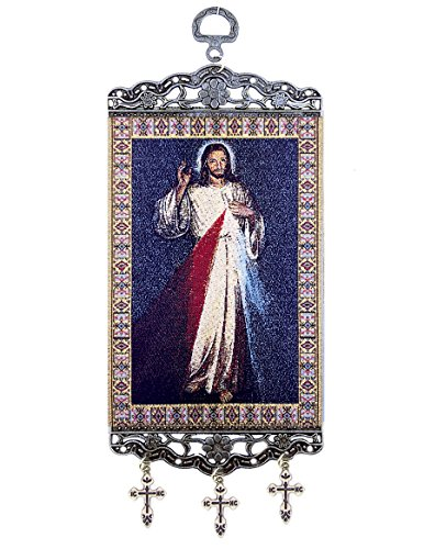 (Religious Gifts The Divine Mercy Tapestry Icon Room Wall Door Decoration With Crosses 9 3/4)