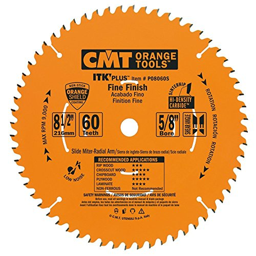 CMT P08060S ITK Plus Finish Sliding Compound Miter Saw Blade, 8-1/2 x 60 Teeth, 10° ATB+Shear with 5/8-Inch -